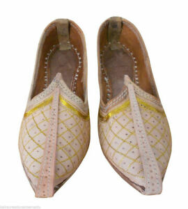 Casual Leather Men Shoes Handmade Flip-Flops Indian Mojaries Khussa Flat US 8