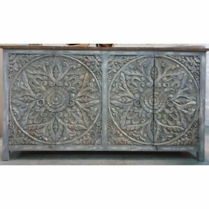 Made to Order Dynasty French Hand carved Doors Buffet Sideboard Grey rustic L