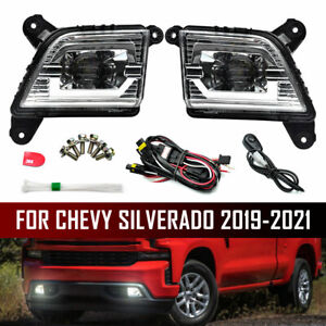 For 2019-2021 Chevrolet Silverado LED Fog Lights Lamp with Switch Wiring Kit USA