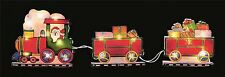 24cm LIGHT UP SANTA TRAIN WITH GIFTS WINDOW SILHOUETTE XMAS CHRISTMAS DECORATION