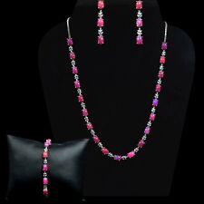 Natural Pink Opal  Gemstone 925 Sterling Silver Necklace Bracelet Earring Set
