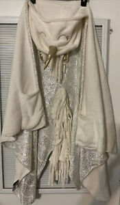 Justice Cloud Castle Cozy Unicorn Gray Hooded Throw Blanket Gold Sparkles EUC