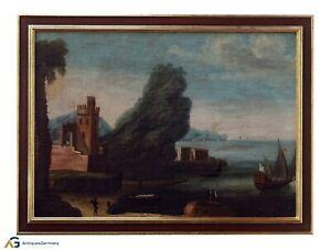 Südländische Küstenlandschaft mit Figuren  Italien 18. Jh. Öl/Leinwand (# 13445)