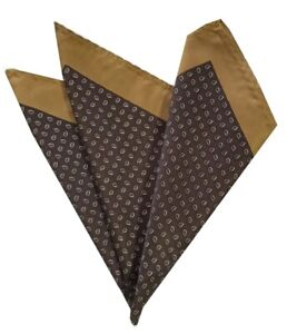 NEW - 100% Silk Pocket Square - Brown & Tan Petite Paisleys Dots 12.5in x 12.5in