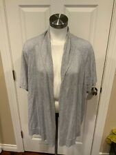 Eileen Fisher Gray Cotton Open Front Short Sleeve Cardigan Sweater, Size Small