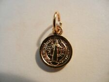"""St. Benedict Gold tone 1/2"""" Medal  NEW! Great for Bracelets & Rosaries ITALY"""