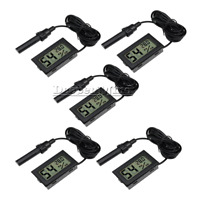5PCS Digital Mini LCD Temperature Humidity Meter Thermometer Hygrometer +cable