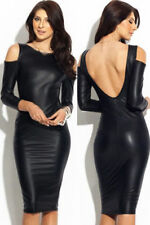 #Dress Women's Black Faux Sexy-Dress Leather Body Hugging Dress M L New#