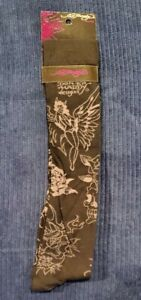 Ed Hardy Black/Grey Knee High Socks 71% Cotton Sz 9-11