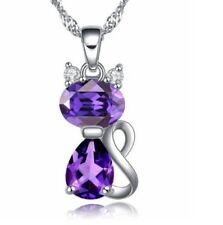 """Sterling Silver Cubic Zirconia Amethyst Kitty Cat Pendant Necklace 18"""" Chain Box"""