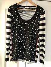 Oui, Jumper With Star Front And Zebra Back, In Black, Size 16/42