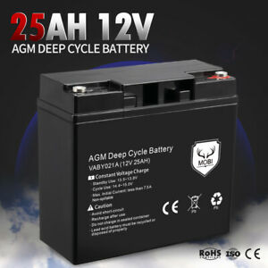 MOBI 25AH 12V AGM Battery Deep Cycle Mobility Scooter Golf Cart Camping Volt