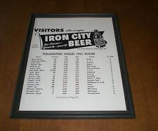 IRON CITY 1952 PHILADELPHIA EAGLES FRAMED ROSTER