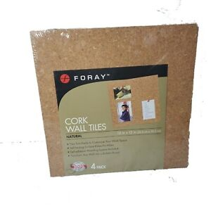 Foray Cork Wall Tiles 12 In X 12 In With Mounting 4 pack
