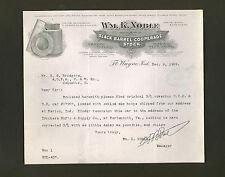 Wm. K. Noble Co. * signed 1909 letter * barrel manufacturer * Fort Wayne Indiana