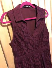 Ladies OASIS wine burgundy leaf mesh skater dress Size 14 12 wedding Autumn VGC