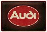 A4 Retro Tin Embossed Sign AUDI LOGO Red Shine 20x30cm Licensed Nostalgic Art