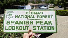 USFS US FOREST SERVICE PORCELAIN SIGN PLUMAS NATIONAL FOREST SPANISH PEAK