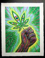 "Original Alex Arey ""Cannafist"" Fine Art Print marijuana pot LSD legalize tool"