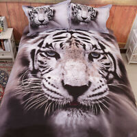 Tiger Gray Animal Duvet Cover Set Queen Size Bedding Set Pillowcases US