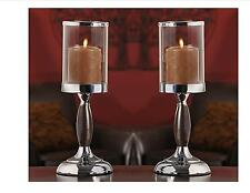 """Set of 2 - 14.2"""" Metal Candle Holders w Glass Candle Cup  NEW"""