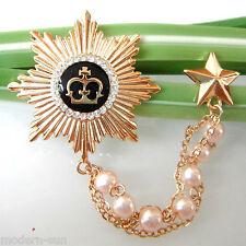 18K Gp Crystal Pin Brooch B7673 Royal Star Medal Crown Enamel Chain