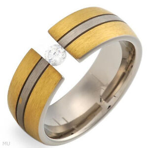 Attractive Gentlemen's Ring Made W/CZ & 14K/Ti Gold plated Titanium Sizes 9 &11
