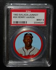 PSA 9 MINT 9 - Henry Aaron 1963 Salada Coins Milwaukee Braves RARE!! Hank HOF