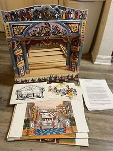 VINTAGE Pollock's Toy Theatre Wood Stage And Props Cinderella RARE
