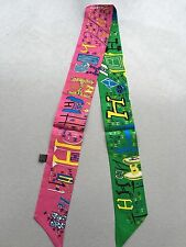 Lots Letter H Print Pony Tail Scarf, Green+Rose  Theme -- 100%  Silk Twill