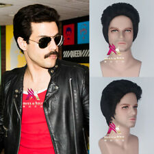 Bohemian Rhapsody Freddie Mercury corto lacio negro Pelucas De Fiesta De Disfraces