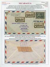 1940 Nicaragua Somoza Goodwill Tour Airmail #C247 & #679 Granada - Manchester UK
