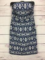 Banana Republic Women's Size 6 Strapless Dress Blue Ikat Print Back Zip