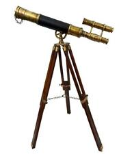 "18"" Antique Brass Leather Telescope With Wooden Adjustable Stand Christmas Gift"