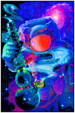 """SPACED OUT CANNABIS 💚 THEME 24""""x36"""" BLACKLIGHT POSTER (FLOCKED) 🔥🔥🔥"""