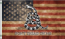 3x5 USA Flag Gadsden Dont Tread on Me Tea Stained American Banner FAST SHIP