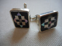 Vintage Mexico Sterling Silver Inlaid Black Onyx Abalone CuffLinks PGG  RE4013