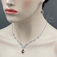 White Gold Plated Red Cubic Zirconia Necklace Earrings Wedding Jewelry Set 00745