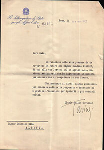 LETTERA AUTOGRAFA DI PAOLO EMILIO TAVIANI Movimento Partigiano in Liguria C4-630