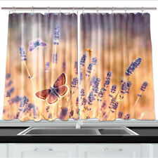 Butterfly flying over lavender Kitchen Curtains Window Drapes 2 Panels Set 55x39