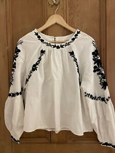 Zara Cotton Linen White Embroidered Puff Sleeve Shirt Women's S