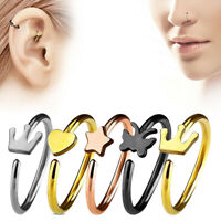 Surgical Steel Anchor Crown Open Nose Ring Hoop Tragus Cartilage Piercing Stud