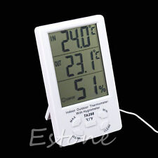 Digital Large LCD Indoor Outdoor Thermometer Hygrometer w/ Temperature Sensor