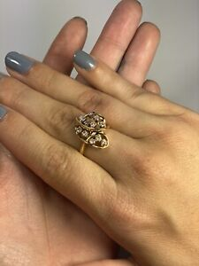 Large Estate Custom  Diamond Cluster Ring 14K Solid Yellow Gold Size 8