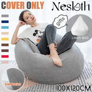 120X100CM Bean Bag Chair Sofa Cover Indoor Gamer Gaming Seat BeanBag