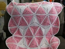 New! Handmade Crochet Blanket Throw Afghan - white, pink