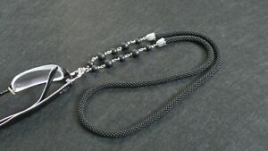 Handmade Black bead crochet chain for glasses with agate 30 inch