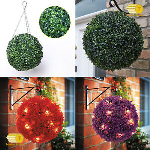 Artificial Rose Flower Topiary Ball Hanging Garden Light Ornament Various Colour