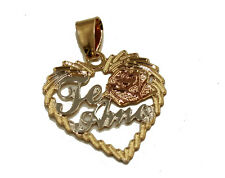 Te Amo Heart 3 Tone Pendant 18k Gold Plated with 20 inch Chain - Te Amo Necklace
