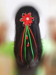 kkChristmas Hair Clip Women Girls Christmas Bow Gift Accessories Xmas Hairpin